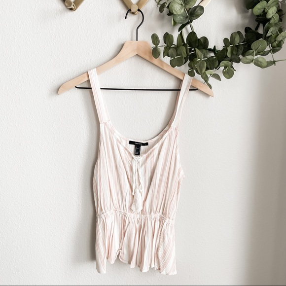 Forever 21 Pink & White Striped Tank